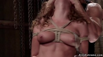 Watch Tied up brunette babe Roxanne Rae gets hairy pussy licked and throat fucked with big dick then in doggy bondage pussy vibrated in dungeon preview