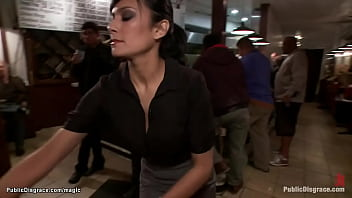Big boobs brunette Beretta James is taken into public crowded steak house from Princess Donna Dolore and Mark Davis and mouth fucked then cunt and ass
