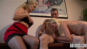 Blonde german milf gets nailed in threesome