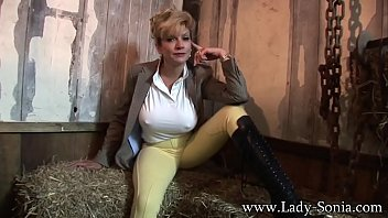Lady Sonia strips and touches her pussy in the barn