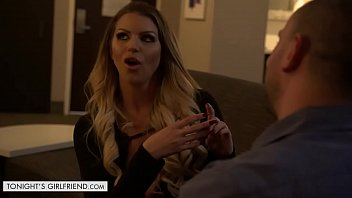 brooklyn chase oils her boobs up before fucking client