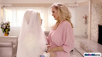 Mature big tits stepmom is a bit sad when seeing her stepdaughter getting married.Her stepdaughter asks whats up and she confesses that she loves her.The feeling is mutual and they lick each other