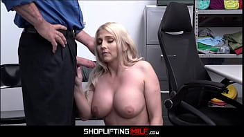 Blonde MILF Step Mom Employee Sex With Officer After Caught Shoplifting For Not Ringing Up Stepson's Chain