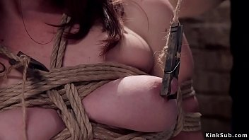 Watch Hairy pussy slave Jodi Taylor in rope bondage gets nipples clamped and tormented then pussy fucked with dick on a stick and a big dick of Owen Gray preview