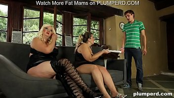 Femdom with 2 bbw cougars and a young pizza delivery