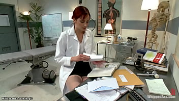 Redhead MILF lesbian professor Maitresse Madeline Marlowe puts ginger pre med student Phoenix Askani in straitjacket and whips her ass in the hospital