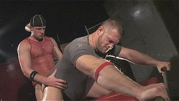 Two hot rough rugby build gay men piss, spit, fuck