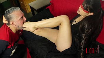 Gorgeous brazilian brunette in a foot domination with fruits