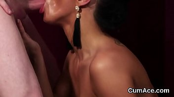 Watch Frisky babe gets sperm shot on her face swallowing all the spunk preview