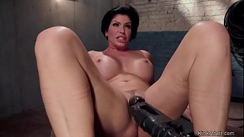 Master James Mogul makes bound huge tits brunette MILF slave Shay Fox give titsjob on big dick to his gimp slave Owen Gray then toys her pussy