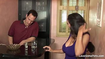 Brunette beauty will rat his pecker in her kitchen and then get fucked and pleasured.