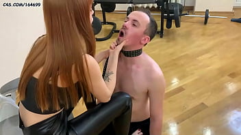 Sexy and Rough Dominant Petite Girl In Fetish Leather - Hard Female Domination and BDSM Humiliation Her Submissive Boyfriend - Pet Play, Spit In Mouth, Slapp, Fullweight Trampling e.t.c. (Preview)