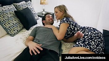 Naughty Step Mother, Julia Ann, spits all over her step son's throbbing hard dick, sucking the cum right out of his balls until he jets his jizz on her face! Full Video & Julia Live @ JuliaAnnLive.com