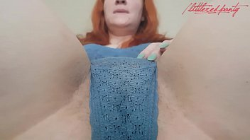 SEXY GINGER CUMS HARD GRINDING PUSSY ON A BRUSH!