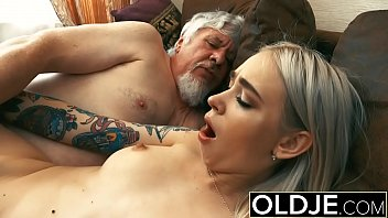 Old and Blonde Fucked by Old man tight pussy cock licking