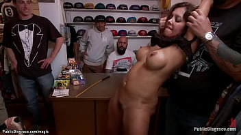Big boobs MILF slave Francesca Le gets throat gagged with dildo and big dick of Lorelei Lee and Mark Wood then anal fucked and whipped at public place