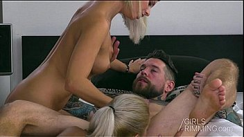 Double Rimjob by Two Hot Girls Rimming