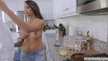 Horny Jay stumbles into the kitchen and amazed in Alexis big titties