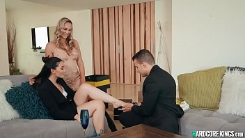 Young sale reps Aria Lee and Codey Steele sold new pair of boots to hot blonde big tits housewife Brett Rossi then fucked her in threesome