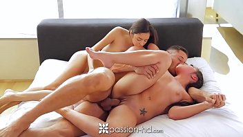 PASSION-HD Morgan Lee and Kristian Bell share cock in threesome