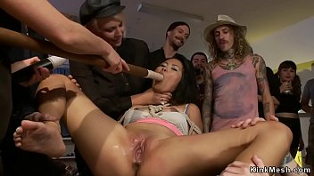 Mistress Ariel X brough petite Asian slave in public warehouse and there fucked her with dick on a stick and made ride hard cock