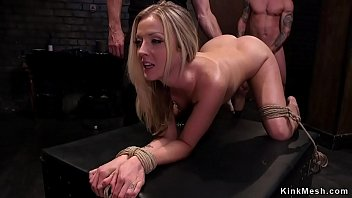 All natural blonde hottie gets whipped and fucked in dungeon