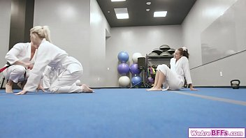 Blonde and brunette best friends deepthroating their karate teachers big cock.The blonde facesits her gf while her besties fucked and licking her bff