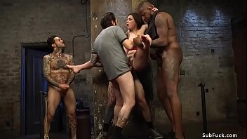 Film crew fuck deep throat petite brunette slut Juliette March then fucks her pussy and ass in gangbang and double penetration bang her hard
