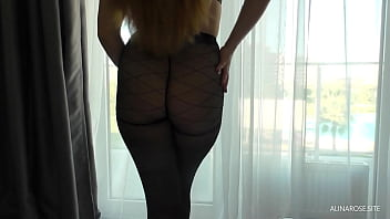 Friend's wife in pantyhose footjob and doggystyle
