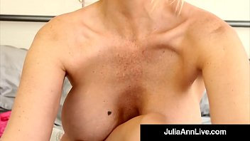 Big Titted MILF Julia Ann Models Her Lingerie For you! Thumbnail