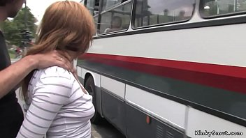 Gagged brunette Euro slave dragged in public bus and fucked