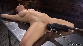Brunette Milf in chair bondage with spreaded legs takes fucking machine