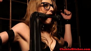 Lezdom mistress has sub in confinement