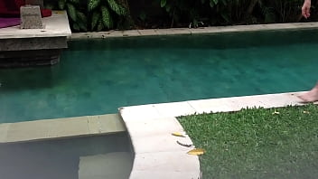 naked man by pool with soft cock