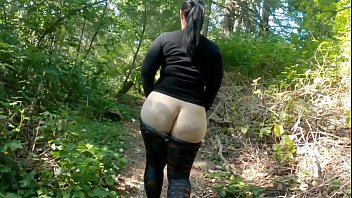 Round Bottom Milf In See Through Tights Walking Through Public Park