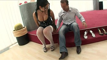Amazing brunette with glasses hard fucked in the ass!