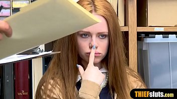 Redhead cutie got busted in the mall and fucks for her freedom