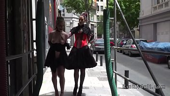 Watch Hot brunette slave Aragne Spicy walked and disgraced in public streets preview