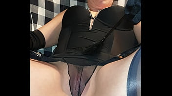 Wife in real stockings shows pussy