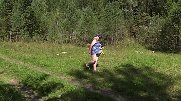Voyeur in nature spying on a mature BBW. A mom in a public clearing undresses, sunbathes and fucks with a banana. Natural boobs, juicy booty and overgrown cunt.
