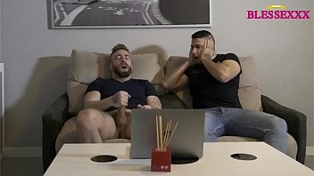Watching my own porn with my gay friend, we stroke together and cum Magic Javi & Manuel Scalco