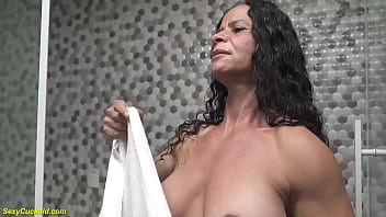 extreme horny brazilian bodybuilder granny rubbing her big clit under the shower after wild cuckold anal fucking