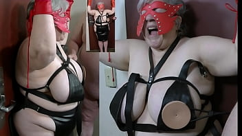 Granny nipples tortured with a spiked bra