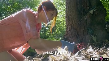 Busty redhead sees a guy and a hot girl fucking outdoor