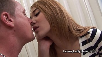 Frottage and fuck with an shaved Asian Ladyboy