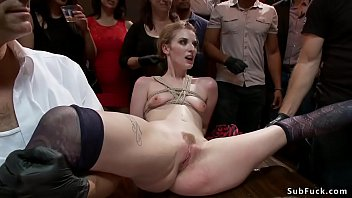 Mistress Bella Rossi drags tied up hottie Ela Darling in public bar and there fingers and waxes her then makes fuck big cock of John Strong