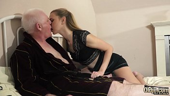 Sexy college sudent with hot pussy rides horny grandpa
