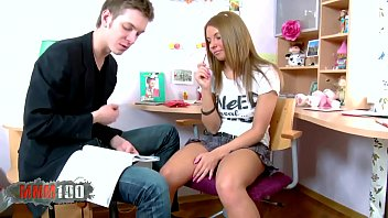 Big cock in her student pussy, and then the same big cock in her tiny teen ass