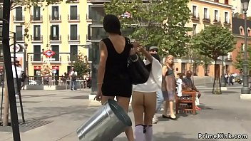Nude gagged and handcuffed Euro brunette babe public disgraced in Spanish square by mistress