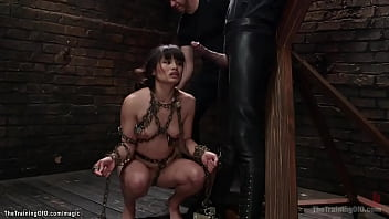 Beautiful brunette Asian trainee Milcah Halili standing on toes with hung heavy bucket for waist gets whipped by James Mogul then interracial anal fucked by big black cock Mickey Mod